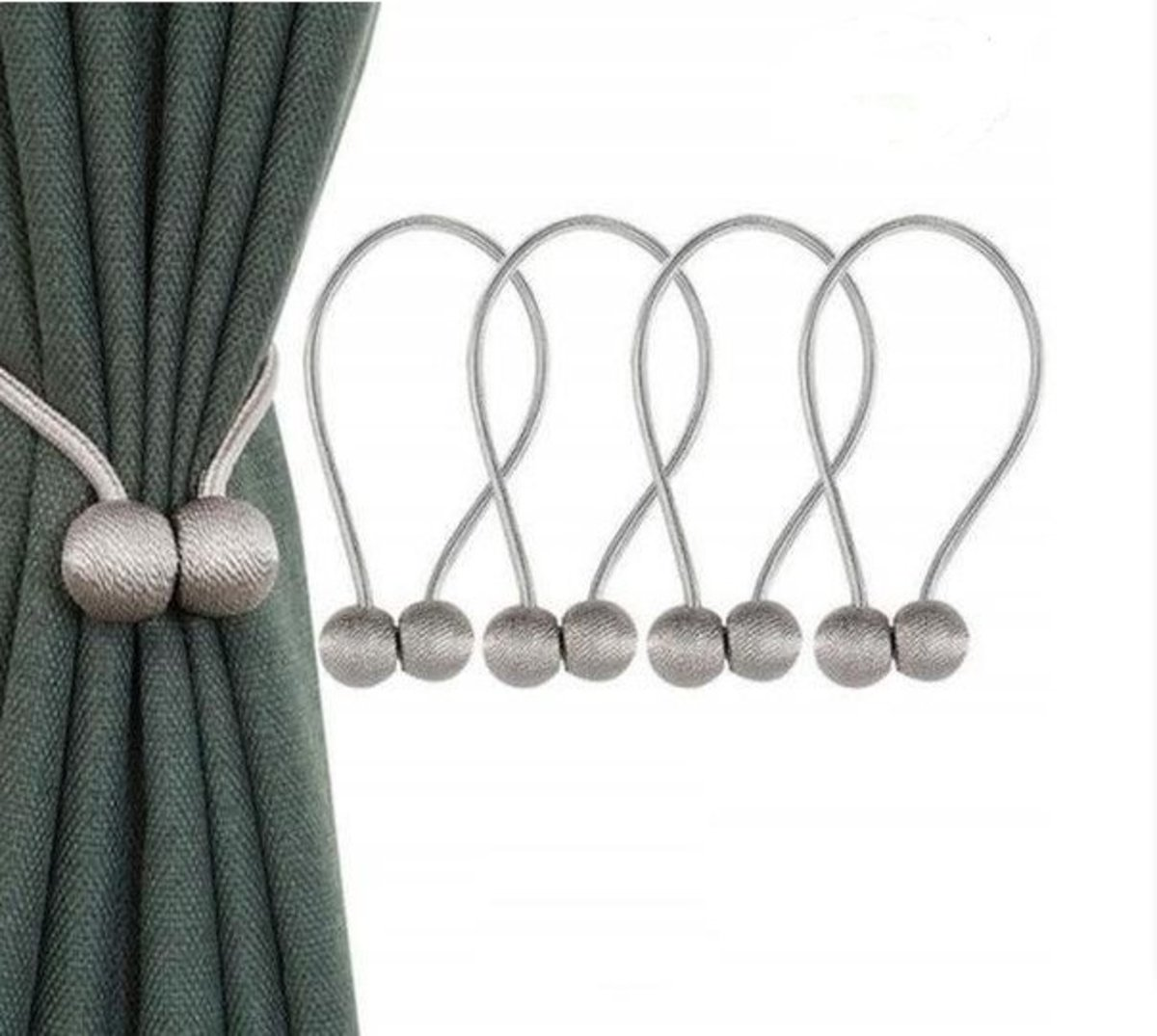 4 pcs.Free Installation  Curtain Magnetic Buckle Strap
