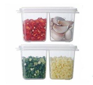 SHIMOYAMA 2個裝雙格醬料蔥姜蒜收納盒保鮮盒 1套