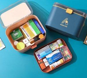 SMAT 北歐風家用醫藥盒 急救箱 手提醫療箱 藥品收納盒 1個
