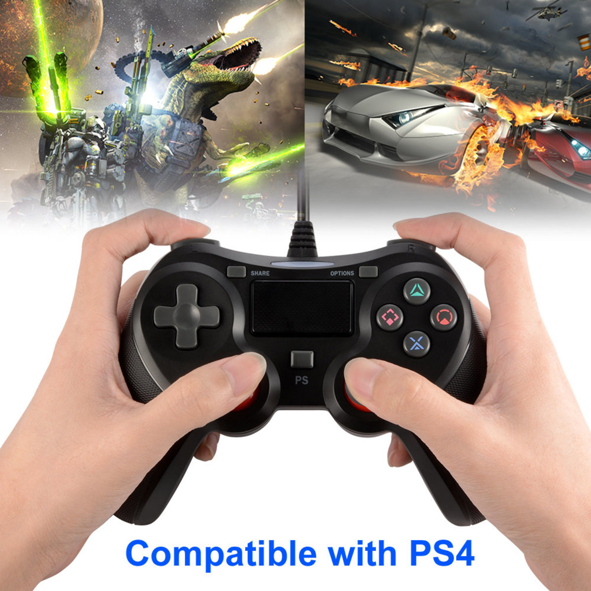 Black wired game controller with vibration private mode For PS4-5N