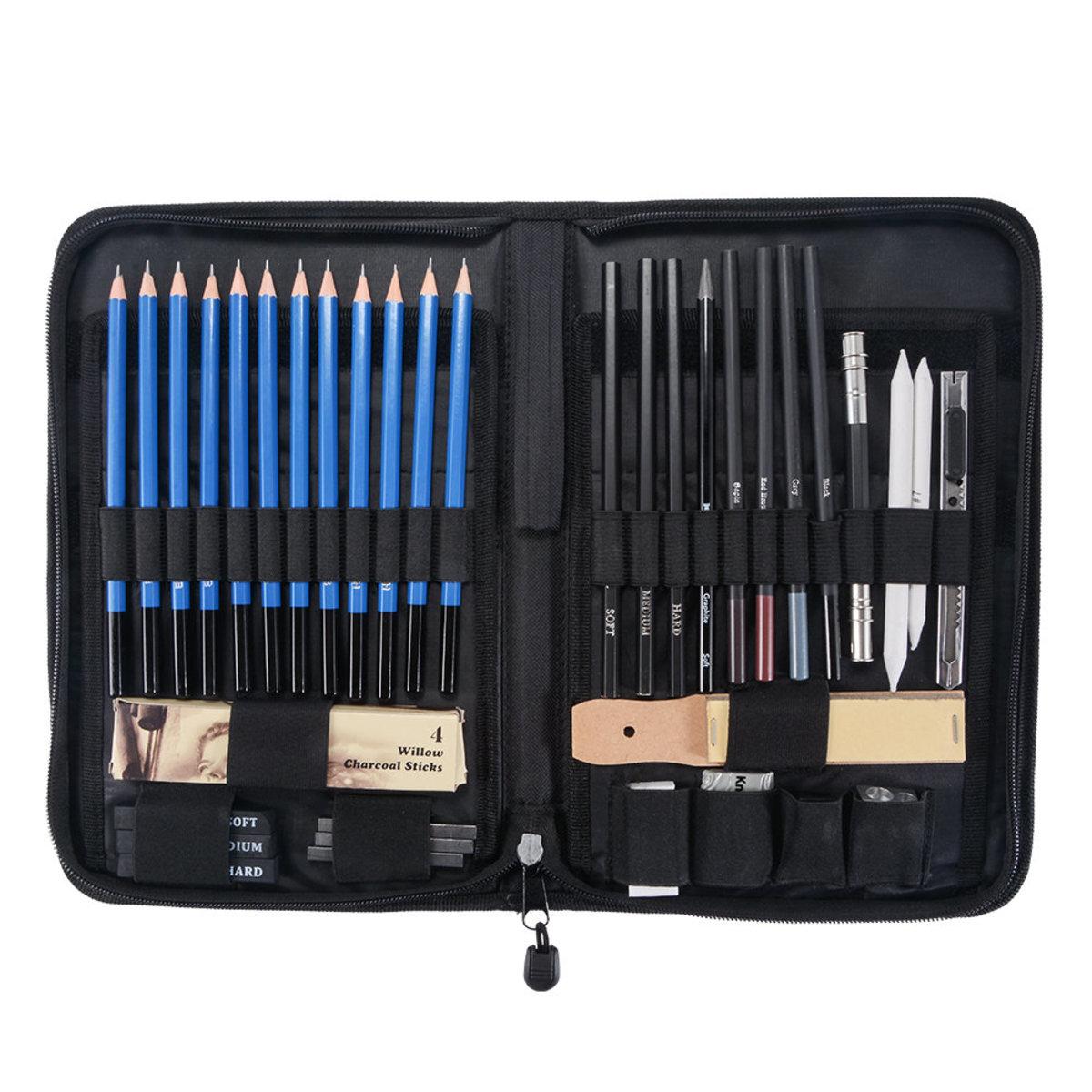 拉鍊袋包裝40pcs專業速寫素描美術鉛筆刷石墨炭