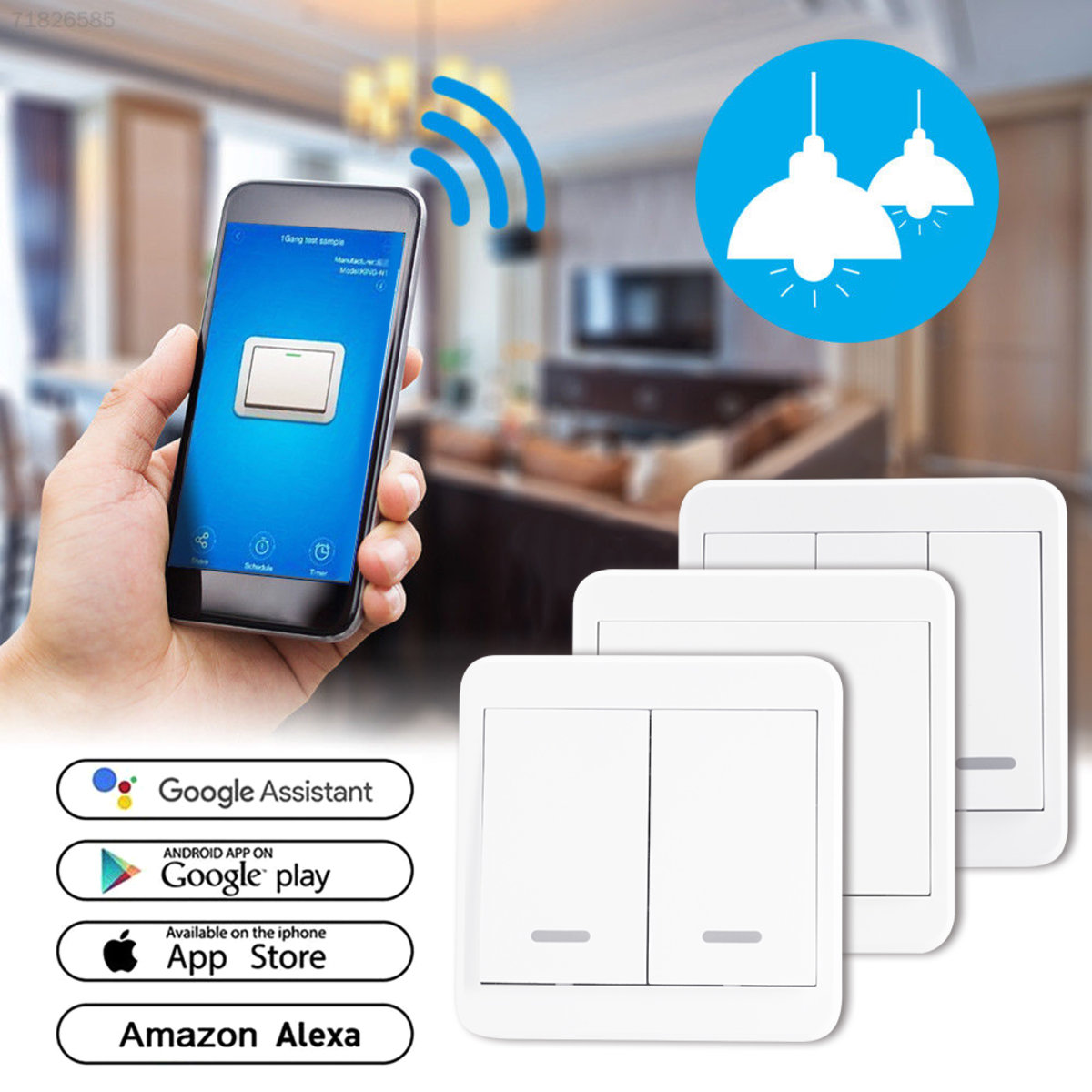 WiFi Smart 2 Gang Light Wall Panel Switch APP Control Push Button Switch LD1600