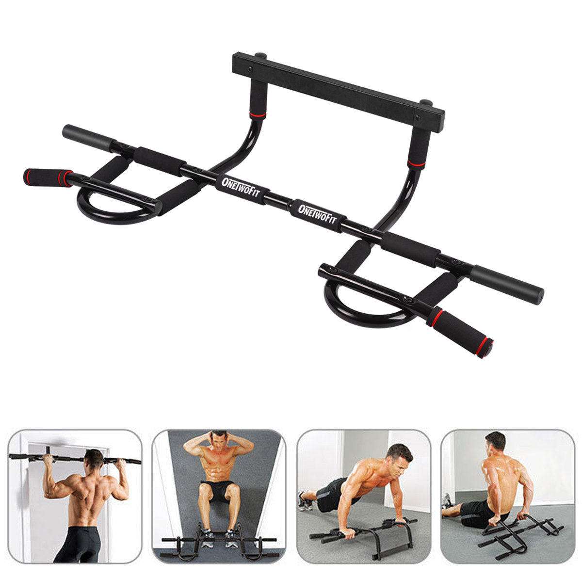 Onetwofit Home Doorway Pull Up Bar Gym Chin Up Bar Multi Grip Body