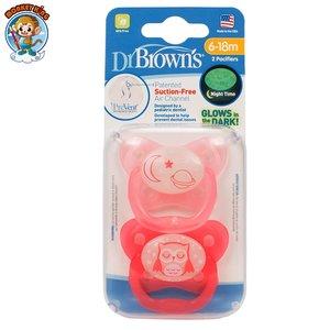 Dr Brown's 嬰兒夜光安撫奶嘴 (6-18個月) - 月亮/猫頭鷹 (粉紅色)