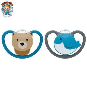 NUK 矽膠超透氣安撫奶嘴 (0-6個月) - 熊/海豚