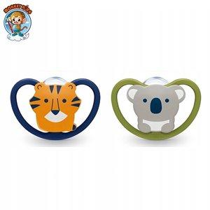 NUK 矽膠超透氣安撫奶嘴 (0-6個月) - 榭熊/老虎