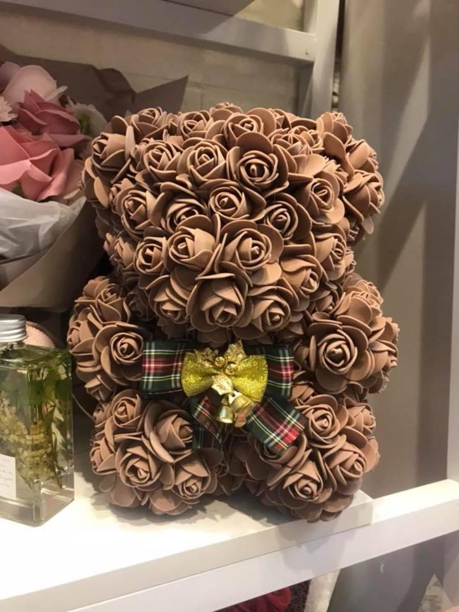 Handmade Flower bear-Brown (size S)