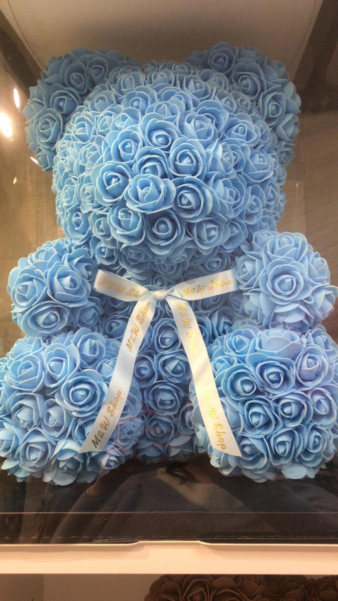 Handmade Flower bear-light blue (size M)