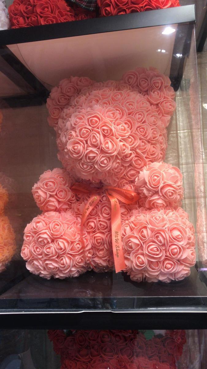 Handmade Flower bear-pink (size M)