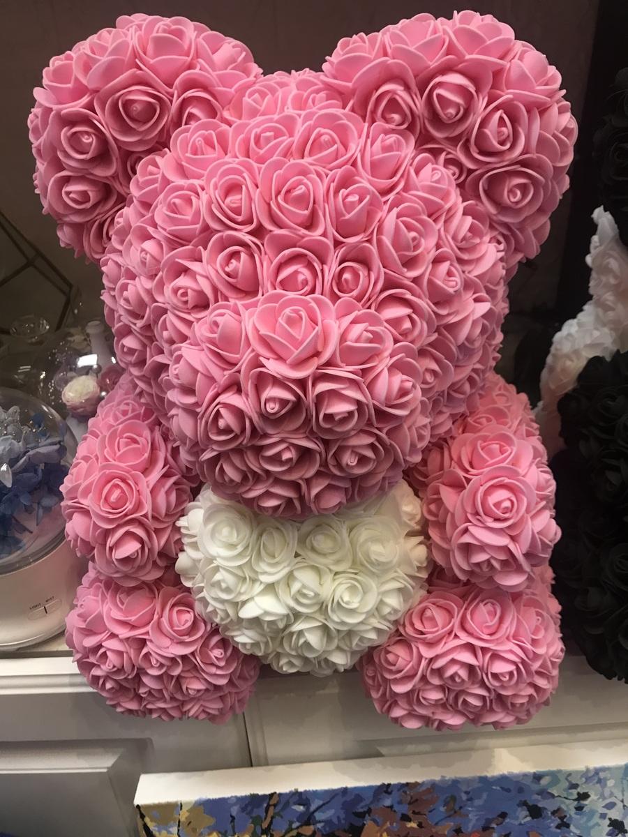 手製花熊 - 粉紅色 +白色心型 (Size M)