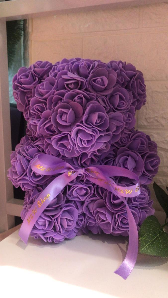 Handmade Flower bear-purple (size S)
