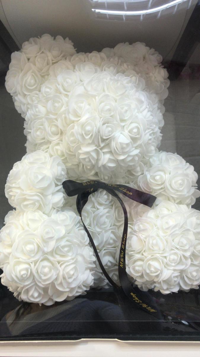 Handmade Flower bear-White (size M)