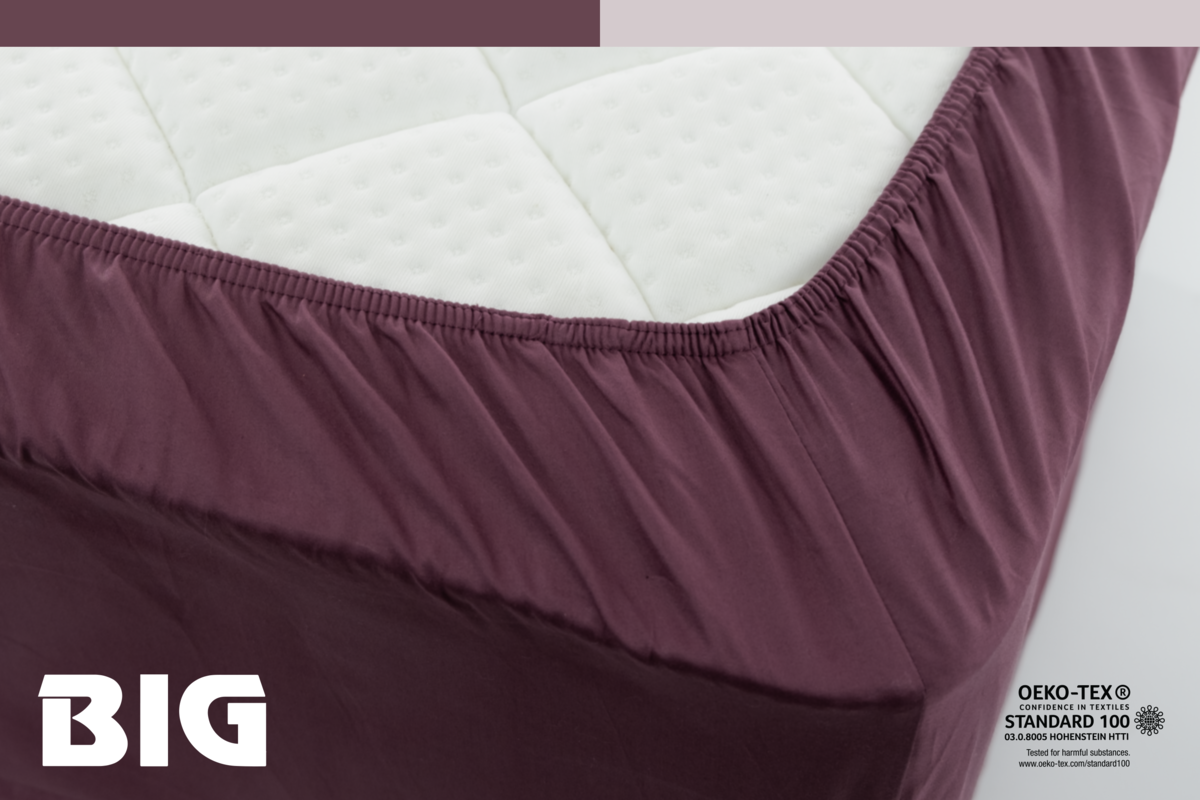 100% Cotton Plum Wine Fitted Sheet