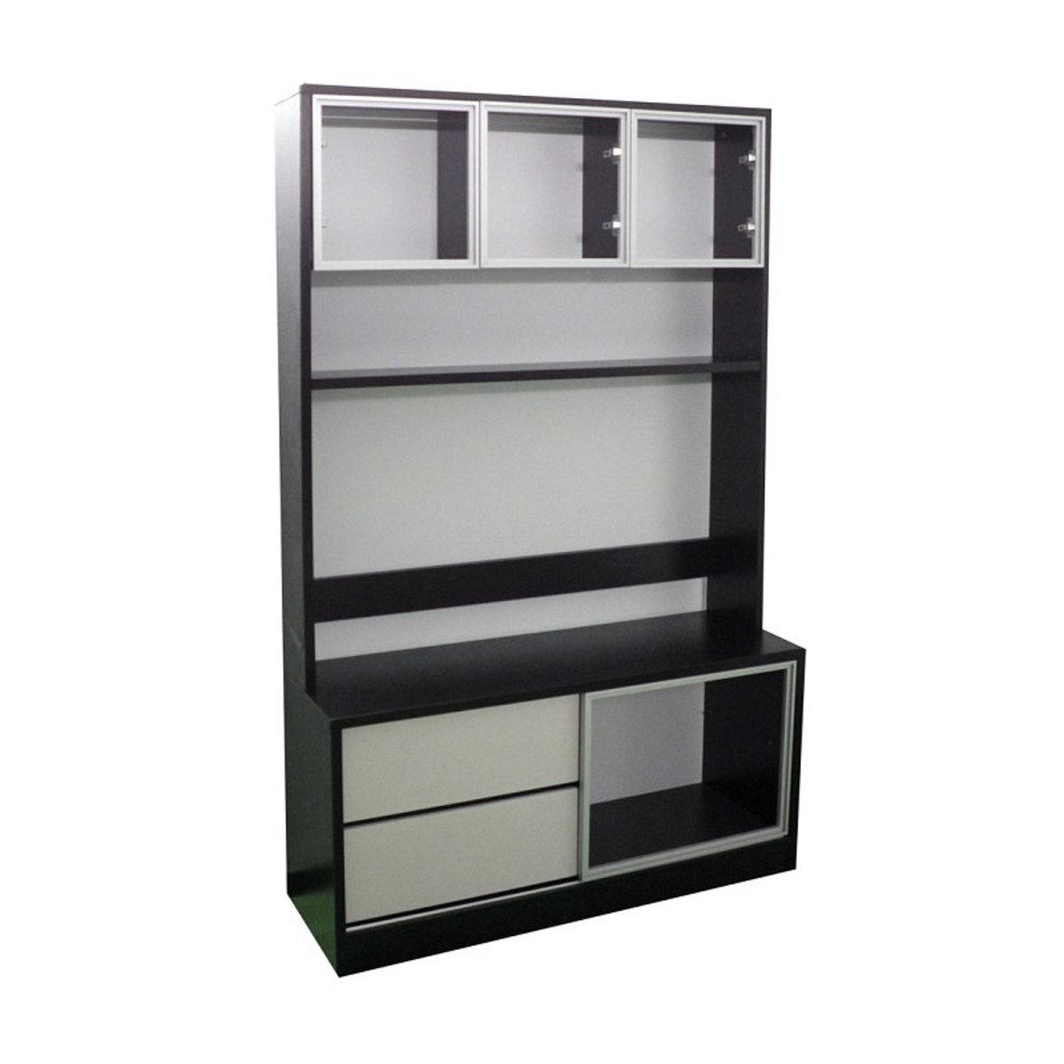 胡桃白組合櫃 (透明玻璃櫃門)