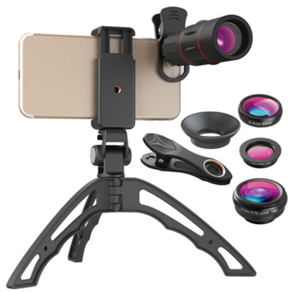Hotbuy 4合1手機相機鏡頭套裝 帶有三腳架