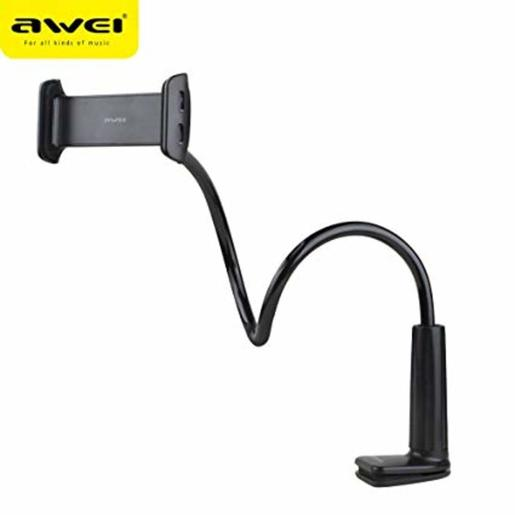 AWEI Cell Phone Stand and Flexible Gooseneck Lazy Arm Bracket Mobiles and Tablets (X3) Black