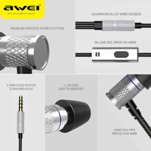 (ES-660I) 入耳式有線立體聲耳機- 黑色