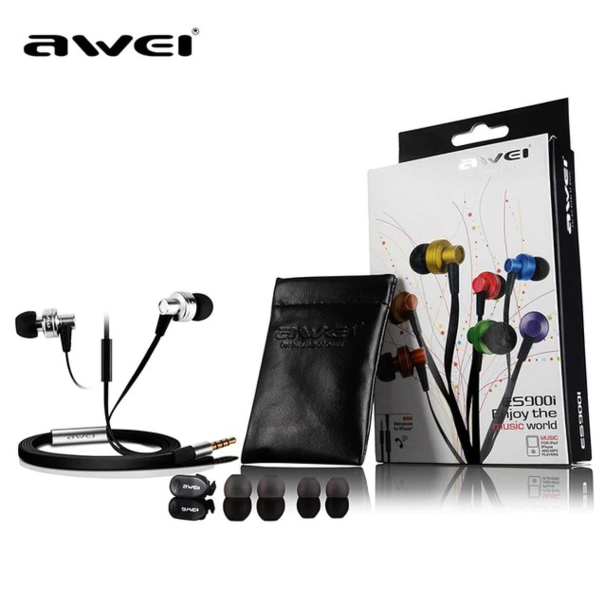 (ES-900I) In-ear Wire Control Earphone Dual Dynamic Units Earbuds-Black