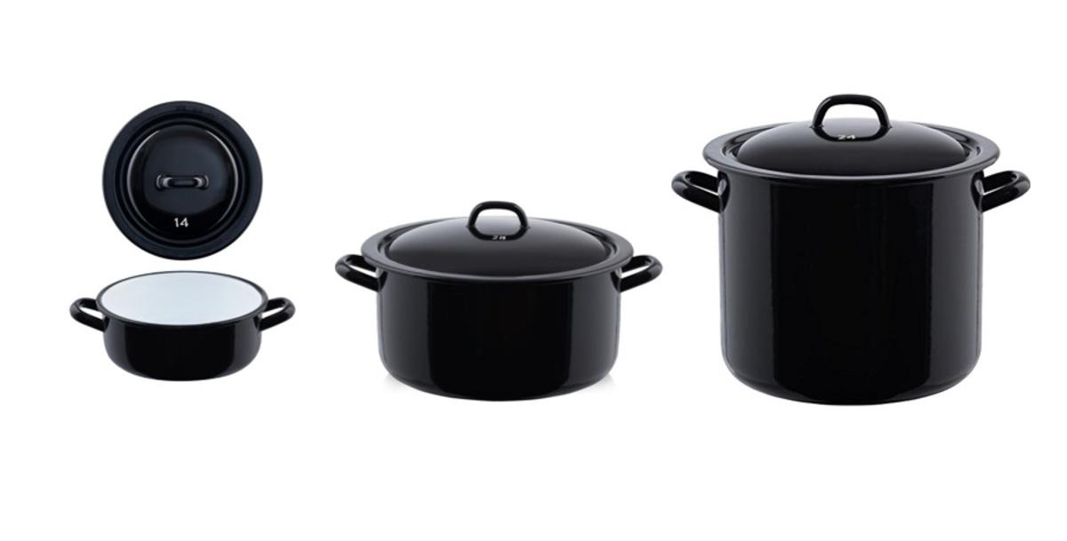 搪瓷煲 (1/2/4/8/12公升)- 黑色