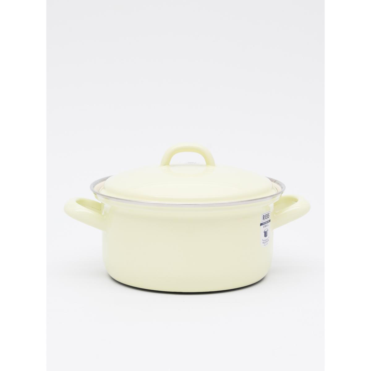 1L enamel cassrole with lid - Yellow