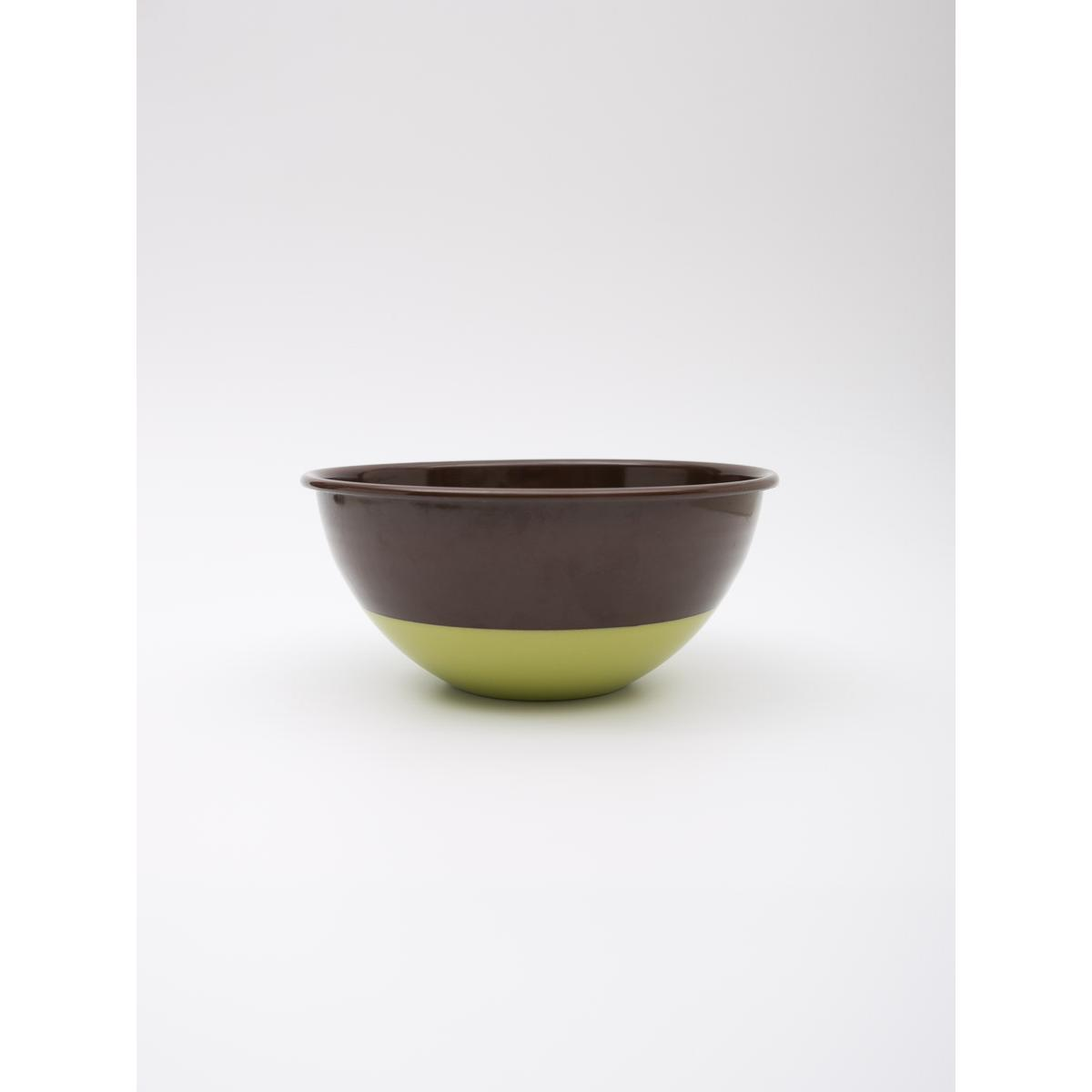 2.5L enamel mixing bowl - Chocolate with green