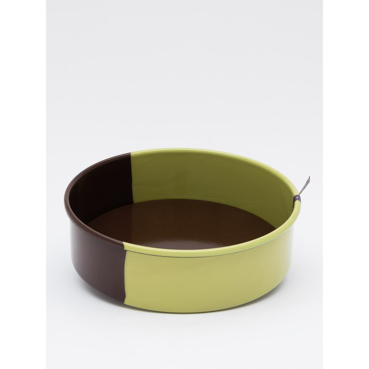 26cm enamel round cake form - Chocolate with green