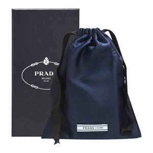 PRADA Milano Textile Pouch #Blue Corpo - [Parallel Import Product]