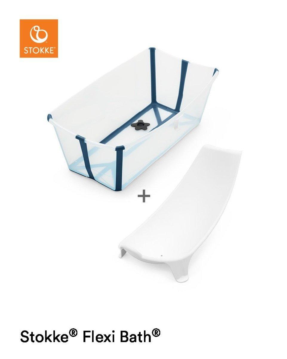 Stokke® Flexi Bath™ 摺疊式浴盆+ 初生嬰兒浴架套裝 - 藍彩透明