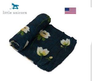 Little Unicorn 竹籤維紗綿包巾 White Anemone