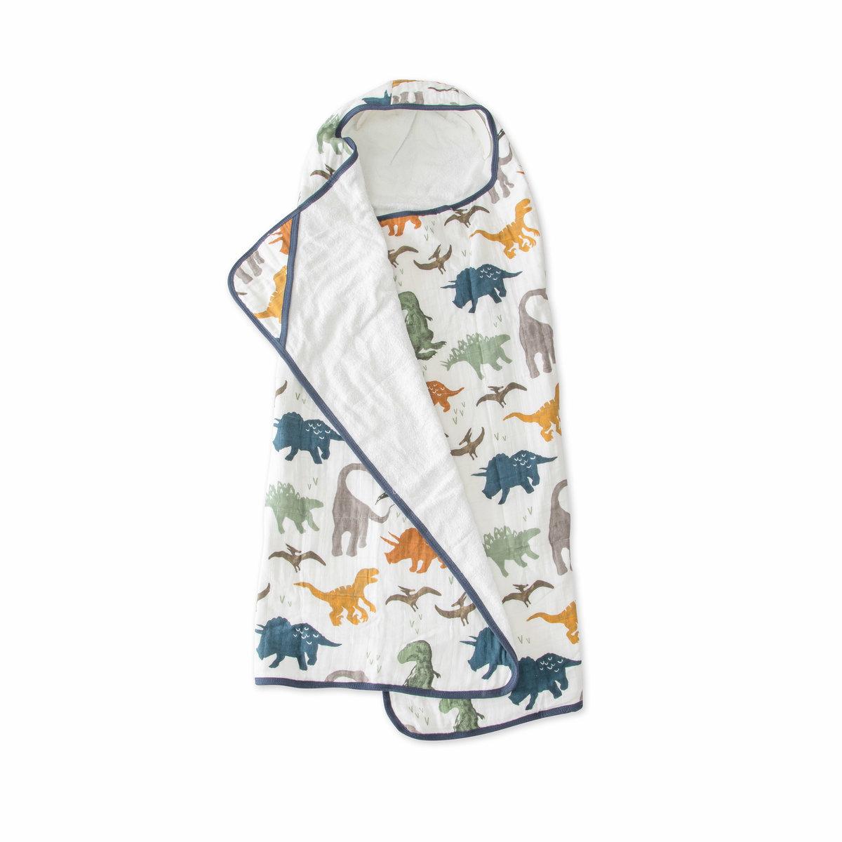 兒童棉紗質連帽浴巾 - Dino Friends