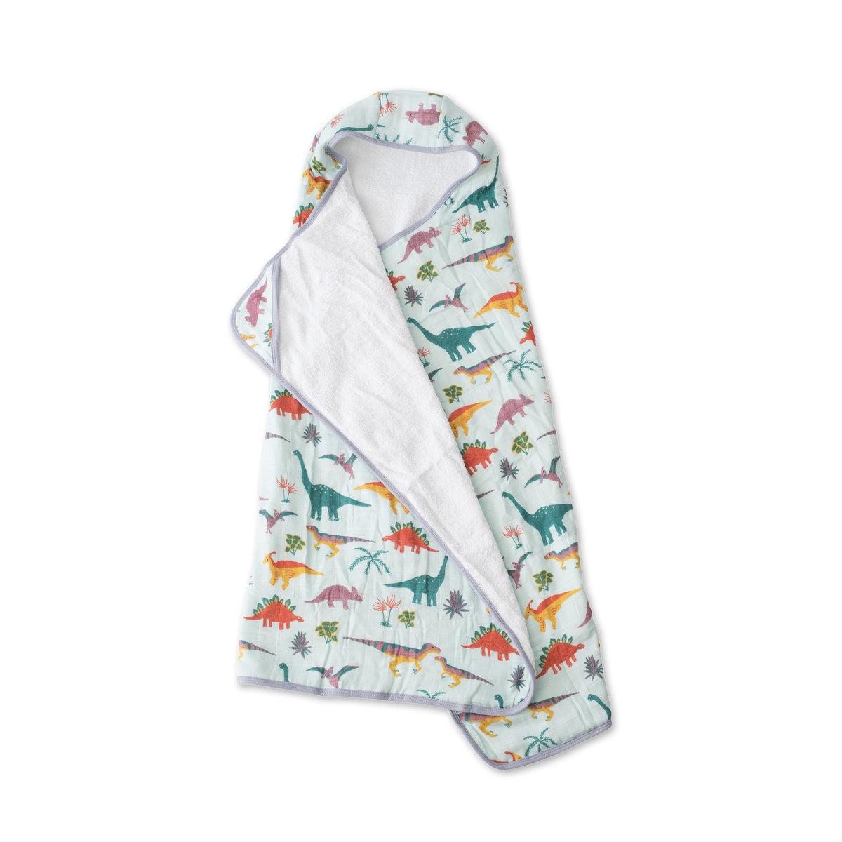 兒童棉紗質連帽浴巾 - Embroidosaurus