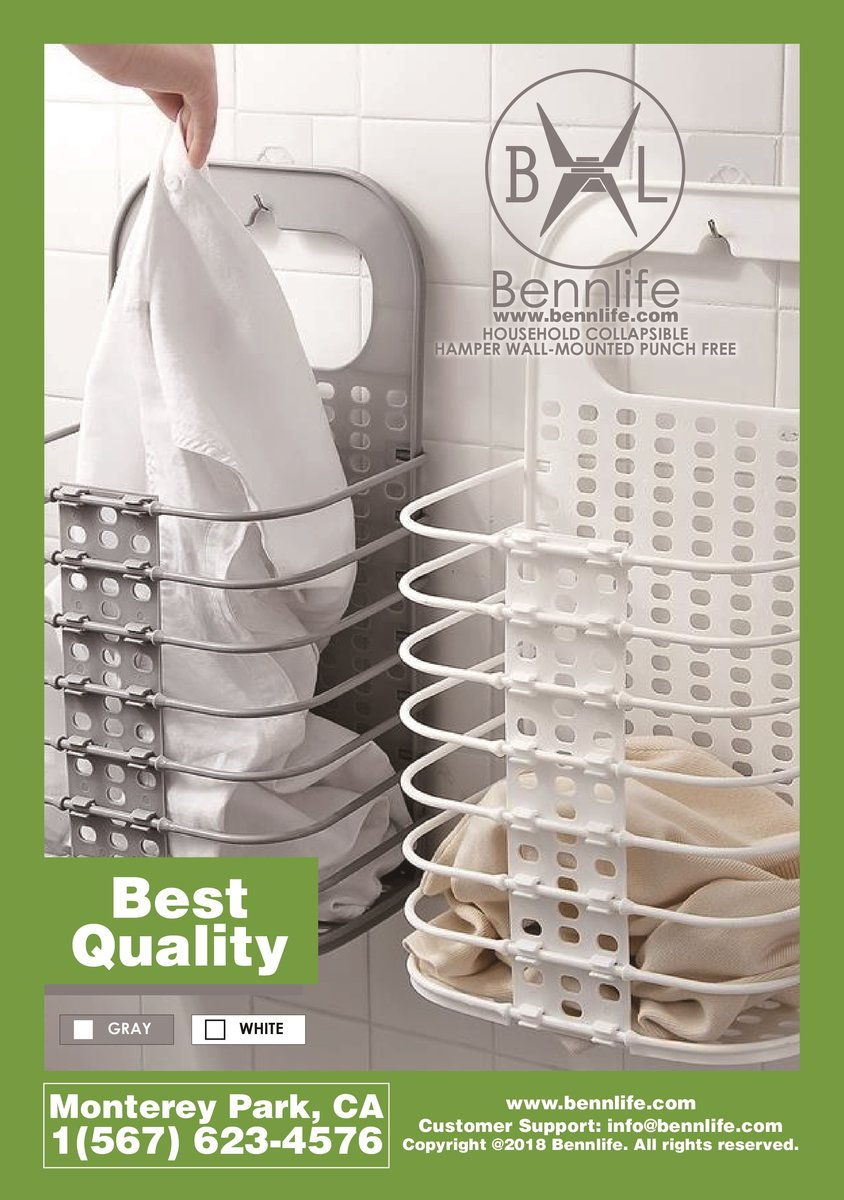 Bennlife Household Collapsible Hamper Wall-Mounted Punch-Free (white)