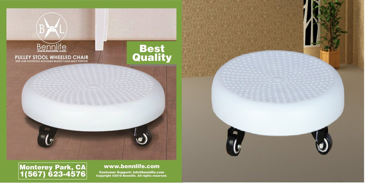Bennlife Pulley Stool Wheeled Chair Step Low Footstool Rotatable Beauty Chair Multi Purpose,(white)