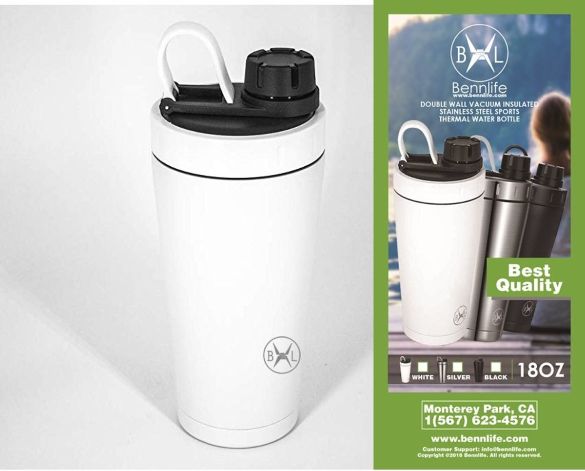 Bennlife Double Wall Vacuum Insulated Stainless Steel Sports Thermal Water Bottle18OZ (white)