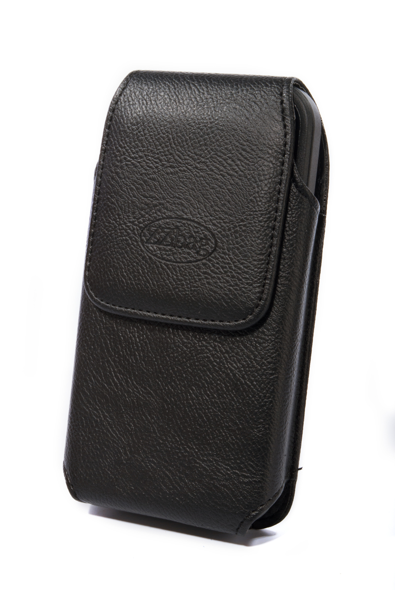 "5.5"" Black Vertical Magnetic Faux Leather Wallet Case Swivel Belt Clip Pouch Holster - case"