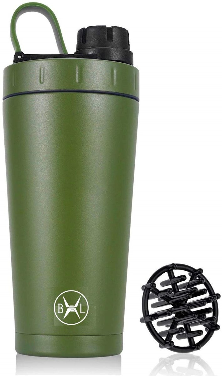 Bennlife Double Wall Vacuum Insulated Stainless Steel Sports Thermal Water Bottle 18OZ (green)