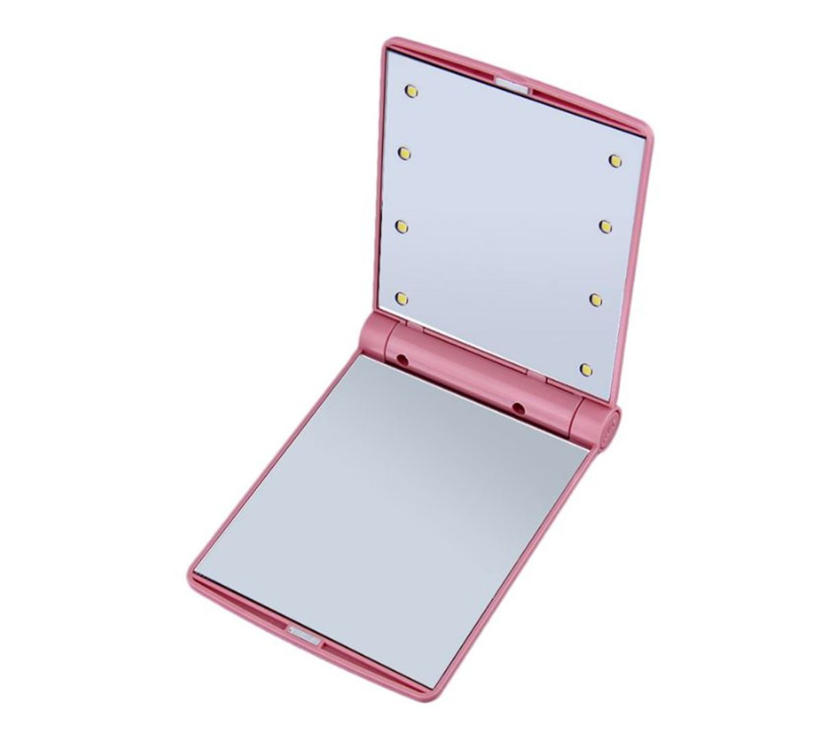 Square Shape Portable Lighted LED Beauty Vanity Mirror (Pink)