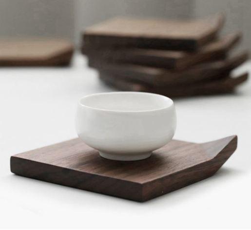 黑胡桃木折角杯墊(一盒2個)
