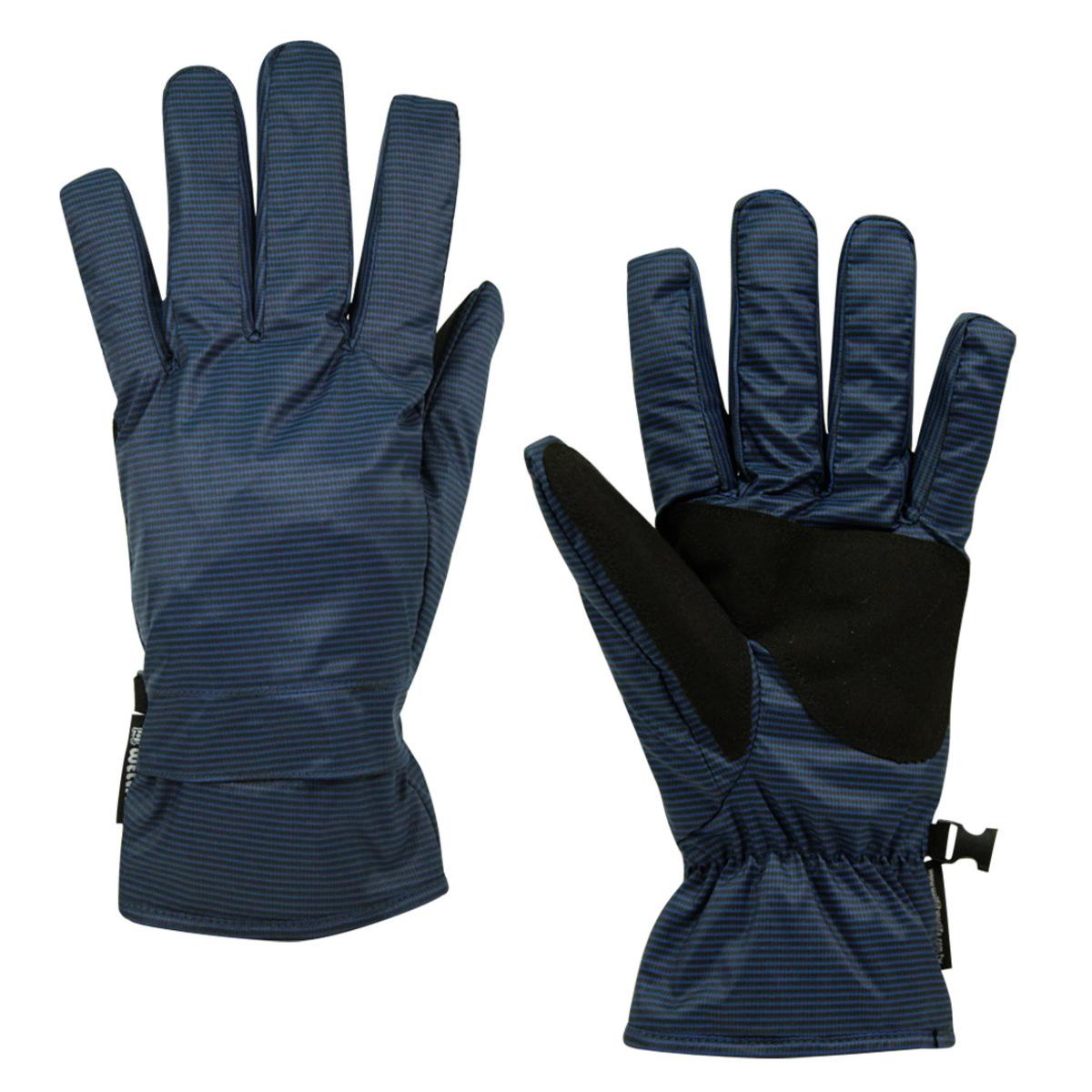 Well Fit 輕量防水保暖手套-藍黑直條紋