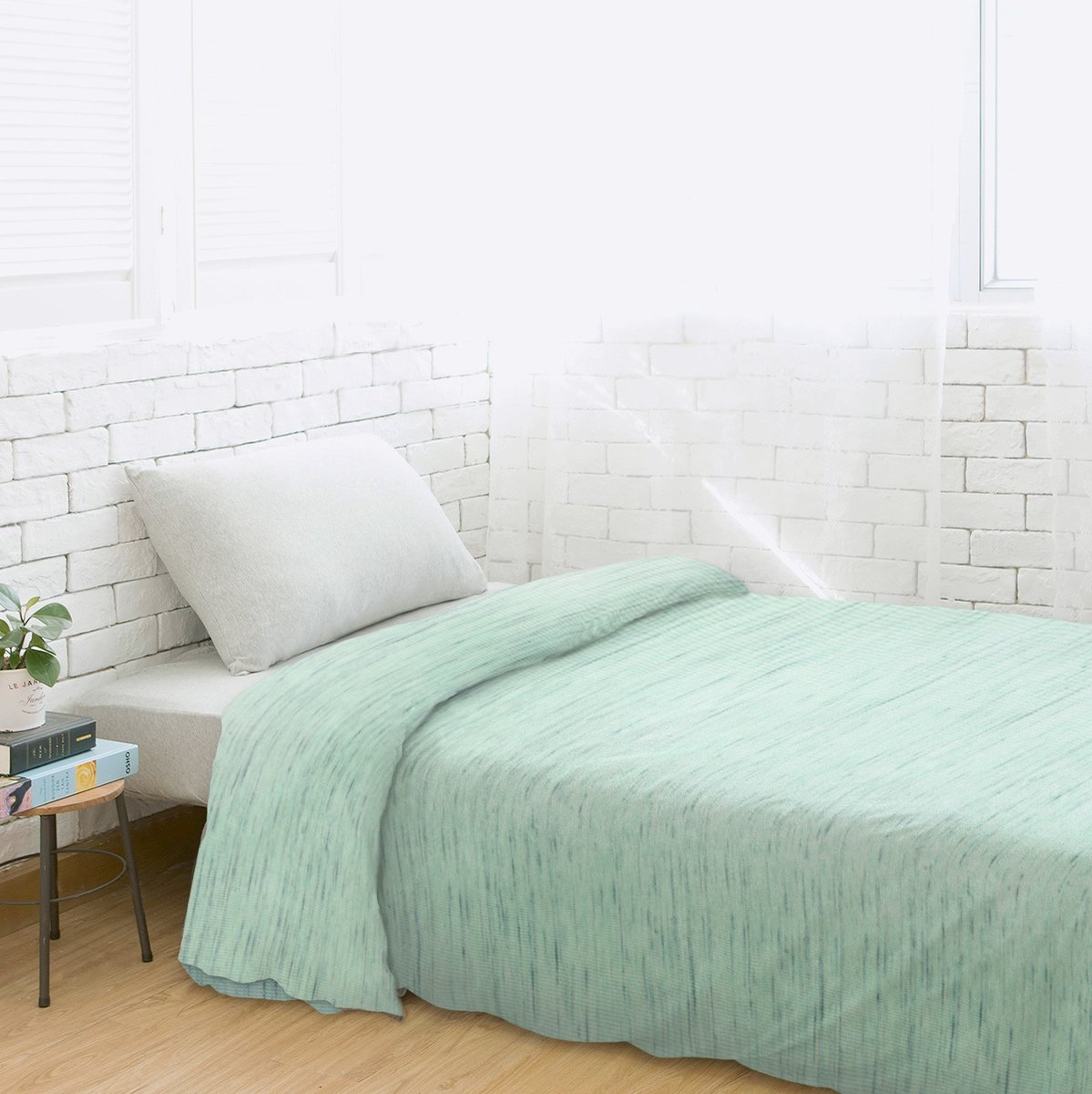 Fine Cotton Knit Duvet Cover – Aquamarine