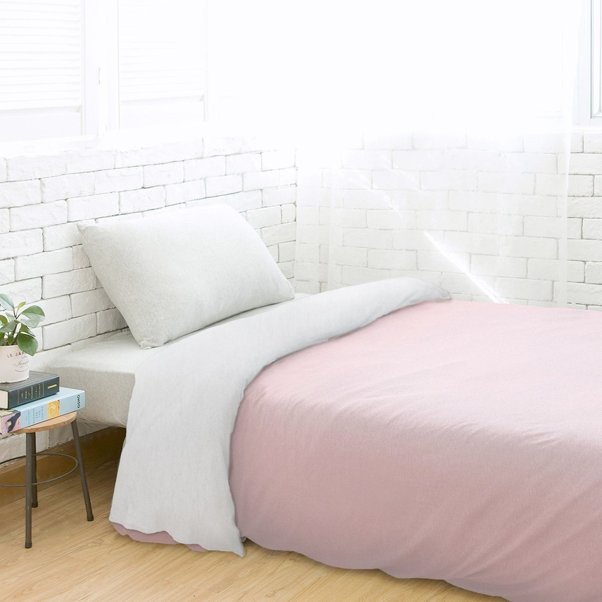 100% Cotton Knit Duvet Cover – Baby Pink/Grey