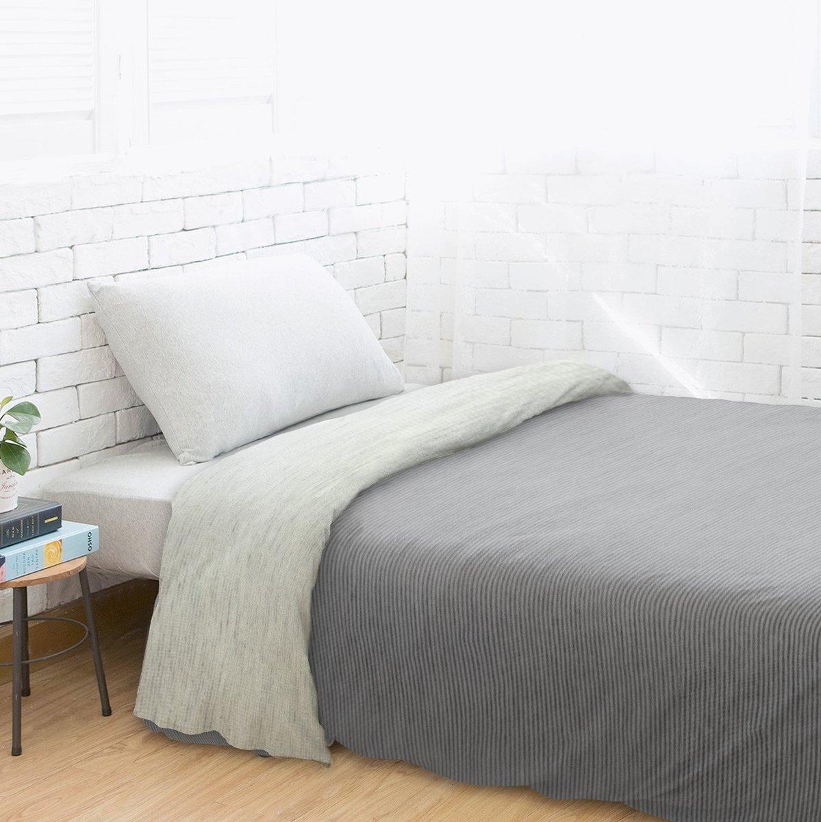 Fine Cotton Knit Duvet Cover-Black gray stripe/Apricot