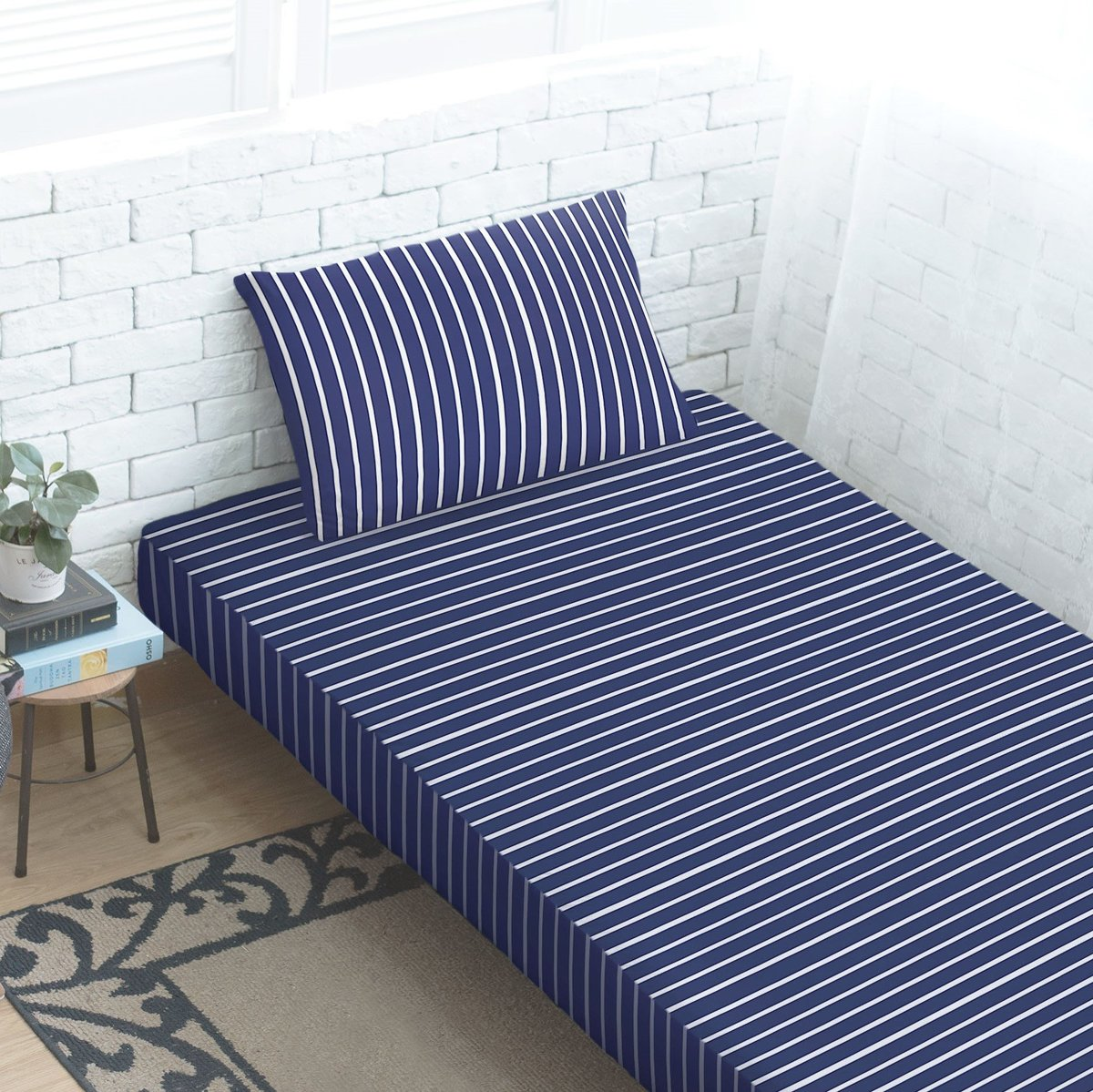Cotton Stretch Knit Fitted Sheet + Pillowcasee -  Navy Blue/white stripes