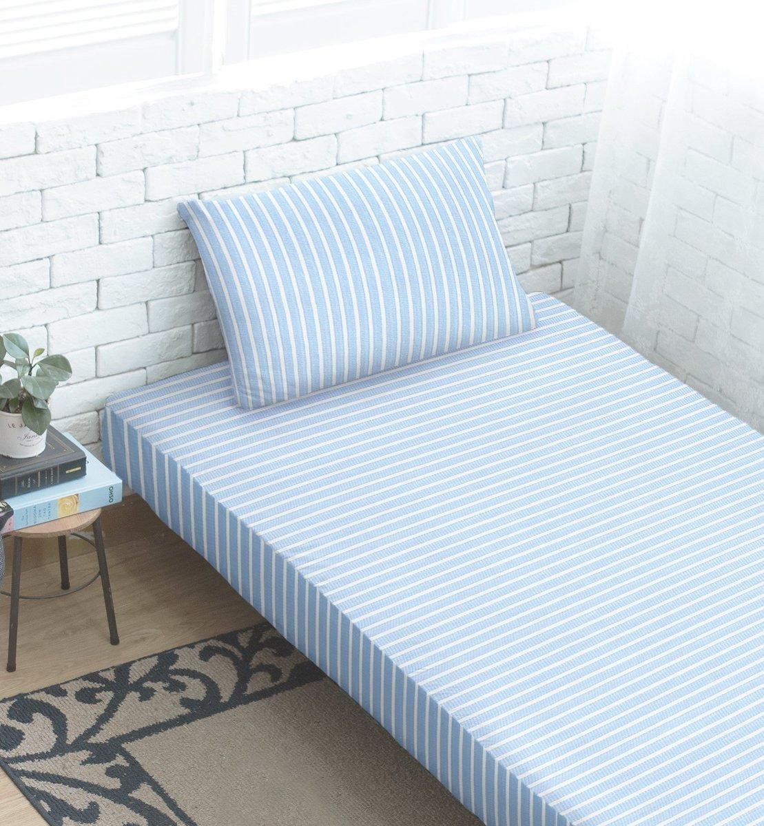 彈性爽棉針織床笠+枕袋 - 淺藍/白條紋