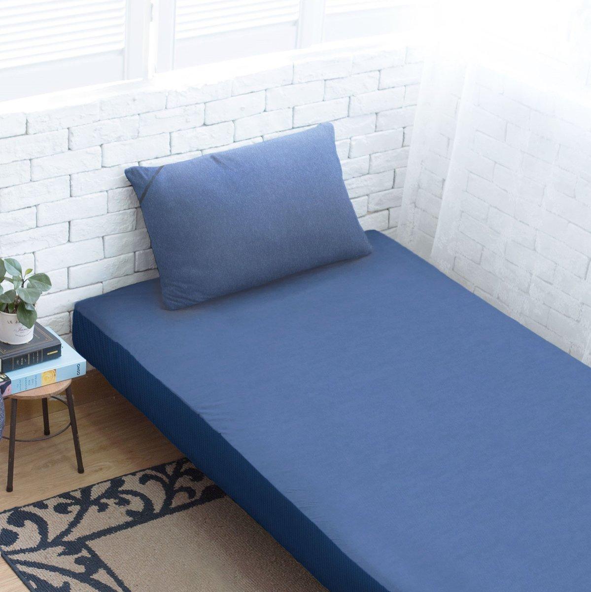全棉針織床笠+枕袋 - 深寶藍