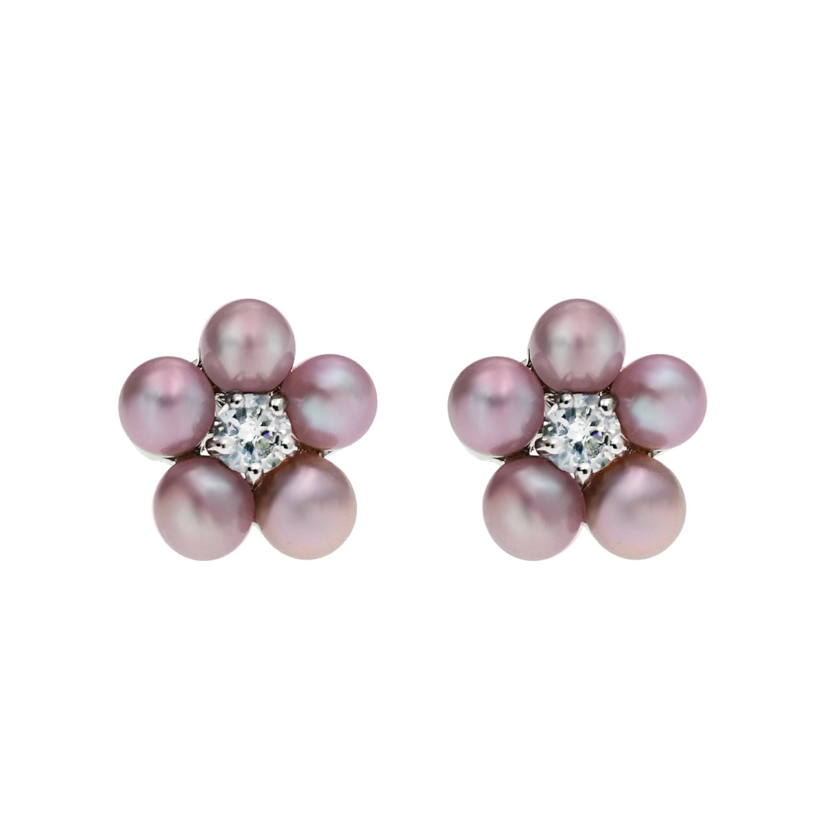 Hana- Cultured Fresh Water Pearl with cz mounted 925 Silver Earring