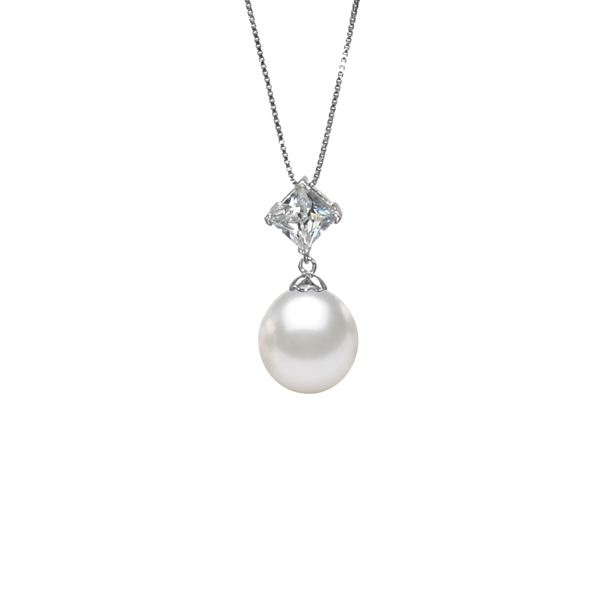 Crux-Cultured fresh water pearl with sterling silver & cz pendant