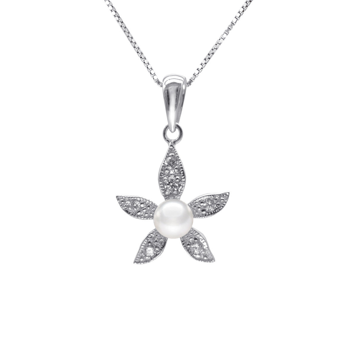 Bauhinia-Cultured Fresh water Pearl with 925 silver mounted with cz Pendant