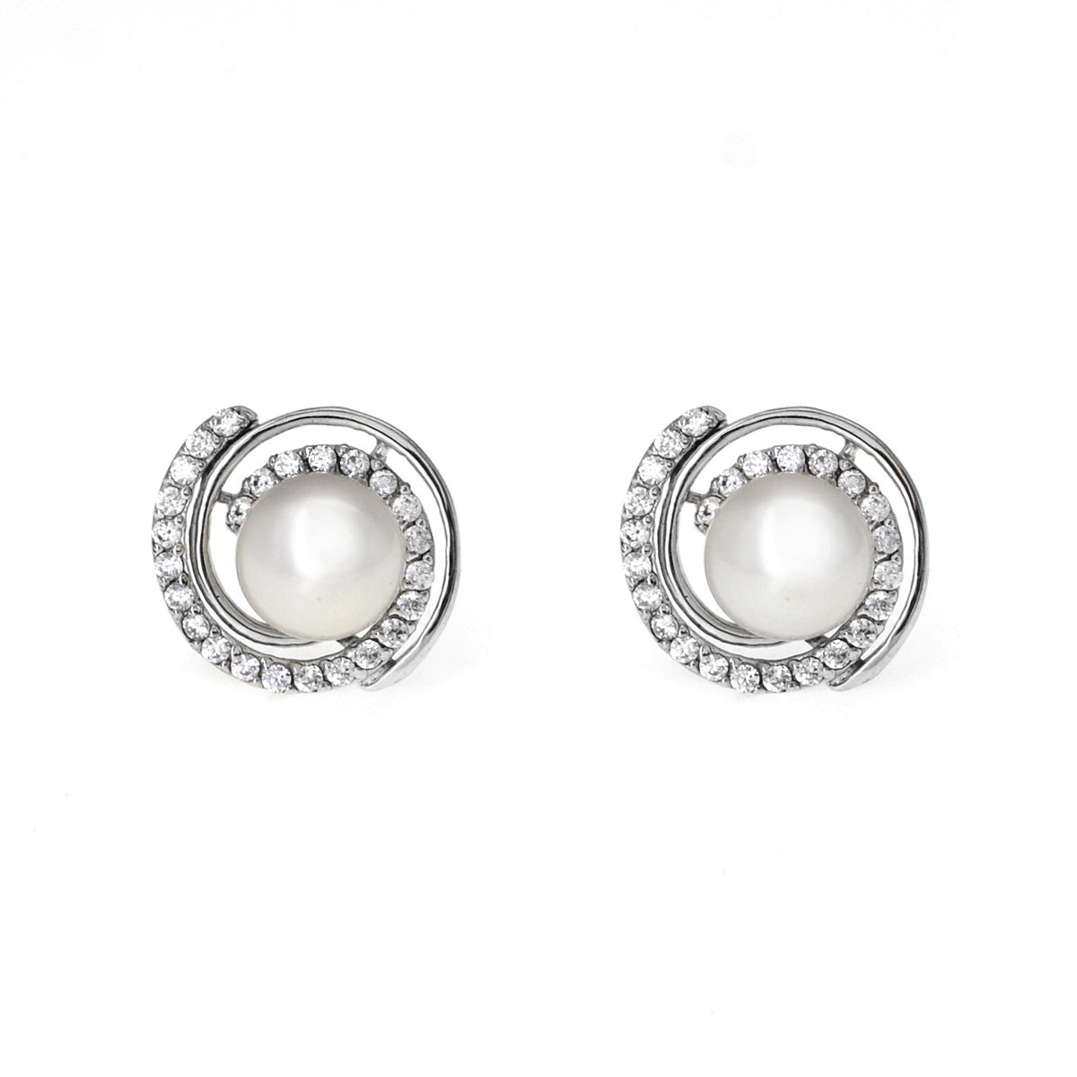 Vortex- 淡水珍珠配925銀鑲白鋯石耳環