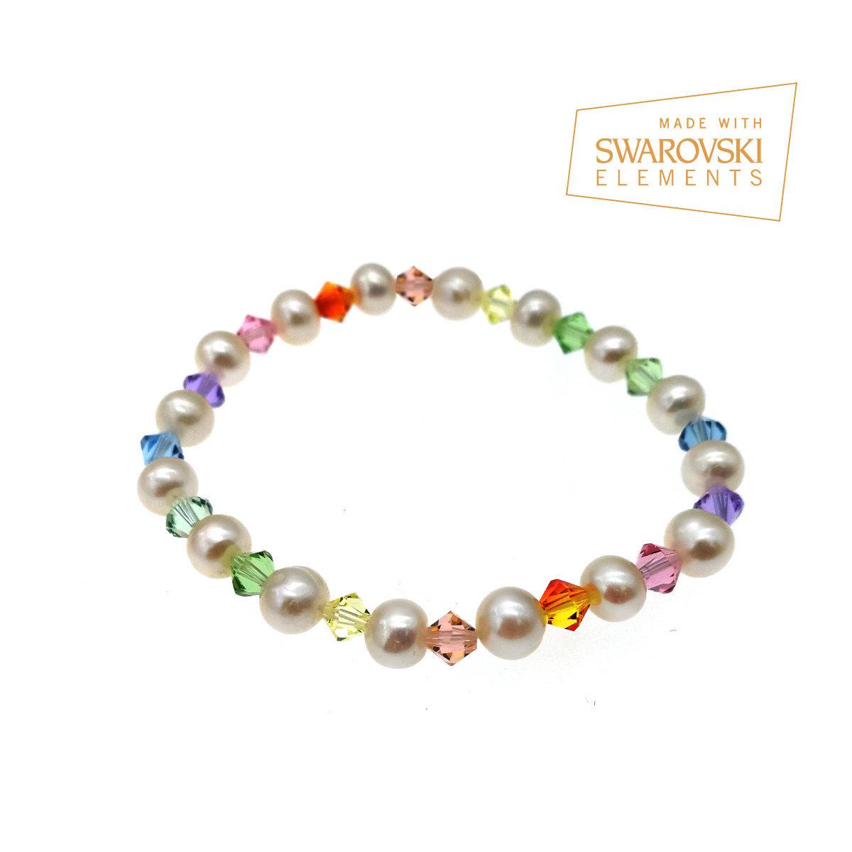 Rainbow series- Hue Fresh Water Pearl Elastic Bracelet